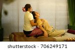 masseuse bending and pull up...   Shutterstock . vector #706249171