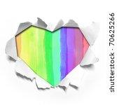 watercolor in Heart shape paper - stock photo