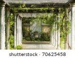 Stock photo walkway in magical floral garden 70625458