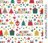 merry christmas. a seamless... | Shutterstock .eps vector #706255111