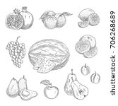 fruits sketch icons. vector... | Shutterstock .eps vector #706268689