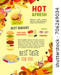 fast food poster of hot dog ... | Shutterstock .eps vector #706269034