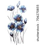 Image Of Blue Flowers In Paint...