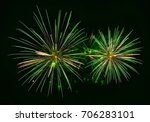 green fireworks explode... | Shutterstock . vector #706283101