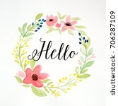 hello on hand drawing flowers ... | Shutterstock . vector #706287109