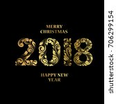 merry christmas background with ... | Shutterstock .eps vector #706299154