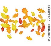 windy flying oak leaf abstract... | Shutterstock .eps vector #706325569