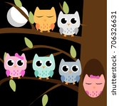 cute colorful owl set on the... | Shutterstock .eps vector #706326631