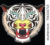 tiger face sticker vector.tiger ... | Shutterstock .eps vector #706326715