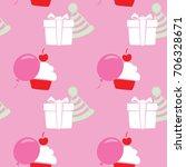 birthday seamless pattern....   Shutterstock .eps vector #706328671
