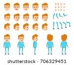 blonde doctor creation set.... | Shutterstock .eps vector #706329451