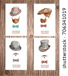 set of hats and beards. hand... | Shutterstock .eps vector #706341019
