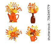 autumn collection of bright... | Shutterstock .eps vector #706349779