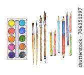 art materials  line drawing set ...   Shutterstock . vector #706351297