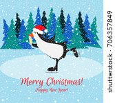 christmas card with a penguin... | Shutterstock .eps vector #706357849