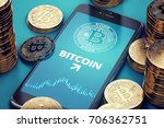smartphone with bitcoin growth... | Shutterstock . vector #706362751