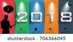 label 2018 text  of success... | Shutterstock .eps vector #706366045