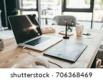 close up view of laptop and... | Shutterstock . vector #706368469