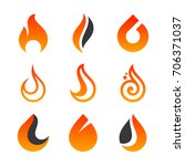 fire flame icons and logo... | Shutterstock .eps vector #706371037