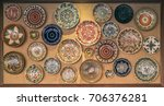 Small photo of Romanian national folklore authentic traditional plate with orna