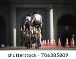 Small photo of STOCKHOLM, SWEDEN - AUG 26, 2017: Stefan Zachaus (LUX) lasst in a group of triathletes on bike in the ITU triathlon series for men. Olympic distance