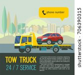 tow truck for transportation... | Shutterstock .eps vector #706390315