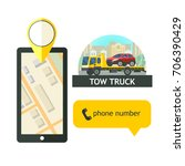 evacuation vehicles. tow truck... | Shutterstock .eps vector #706390429