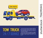 tow truck for transportation... | Shutterstock .eps vector #706390441