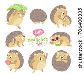 Stock vector cute cartoon animal character lovely sweet hedgehog various emotions summer fun beach party 706400335