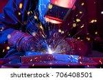 welder erecting technical steel.... | Shutterstock . vector #706408501