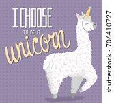 cute cartoon lama alpaca with... | Shutterstock .eps vector #706410727