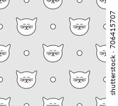 tile pattern with white cats... | Shutterstock . vector #706415707