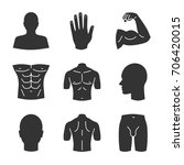 male body parts glyph icons set.... | Shutterstock .eps vector #706420015