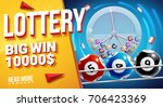 lottery banners with realistic... | Shutterstock .eps vector #706423369