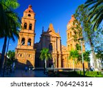 red brick cathedral on main... | Shutterstock . vector #706424314
