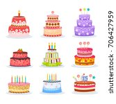 set of birthday cakes icons... | Shutterstock .eps vector #706427959