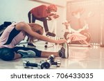 two fitness girls are... | Shutterstock . vector #706433035