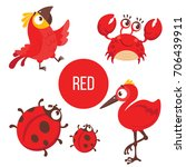 Red Animals And Birds. Cute...