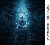 meditating astronaut concept  ... | Shutterstock . vector #706444351