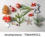 beautiful christmas composition ... | Shutterstock . vector #706449511