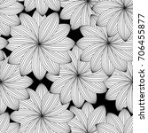abstract monochrome floral... | Shutterstock . vector #706455877