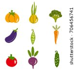 vegetable collection in hand... | Shutterstock .eps vector #706456741