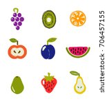 fruits collection in hand drawn ... | Shutterstock .eps vector #706457155