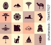 set of vector flat design egypt ... | Shutterstock .eps vector #706457527