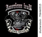 skull of biker in t shirt style ... | Shutterstock .eps vector #706460515