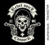 skull of biker in t shirt style ... | Shutterstock .eps vector #706460749
