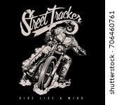 biker riding a vintage...   Shutterstock .eps vector #706460761