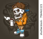 vector skull painting graffiti | Shutterstock .eps vector #706461121
