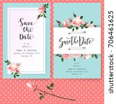 save the date card  wedding... | Shutterstock .eps vector #706461625
