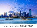 the skyline of jersey city  new ... | Shutterstock . vector #706462705